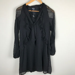 NWT Black Bebe Sz S cold shoulder dress